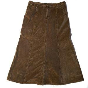 Eddie Bauer Brown Tan Soft Corduroy Flare Skirt